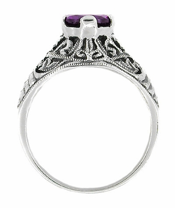 Edwardian Filigree 1 Carat Amethyst Promise Ring in Sterling Silver - Item SSR1 - Image 1