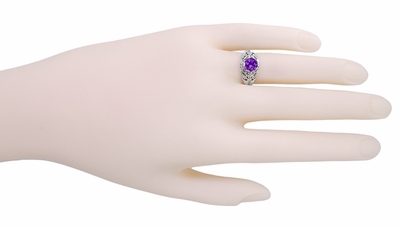Edwardian Filigree 1 Carat Amethyst Promise Ring in Sterling Silver - Item SSR1 - Image 2