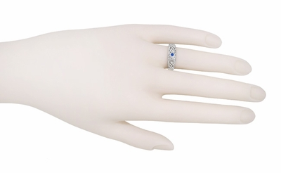 Edwardian Filigree Blue Sapphire Ring in Platinum | Vintage Bezel Setting - Item R197PS - Image 2