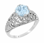 Edwardian Filigree 1.45 Carat Blue Topaz Promise Ring in Sterling Silver | Dome Solitaire