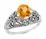 Edwardian Filigree 1 Carat Citrine Promise Ring in Sterling Silver