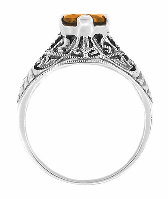 Edwardian Filigree 1 Carat Citrine Promise Ring in Sterling Silver - Item SSR5 - Image 1
