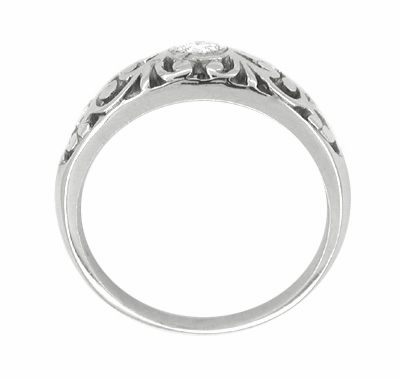 Edwardian Filigree Diamond Ring in Platinum | Low Profile Vintage Ring - Item R197P - Image 1