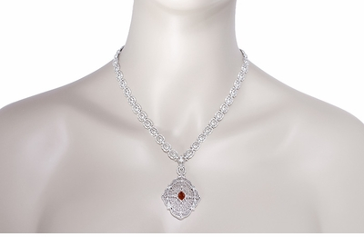Edwardian Filigree Drop Pendant Necklace with Almandite Garnet and Diamond in Sterling Silver - Item N152G - Image 3