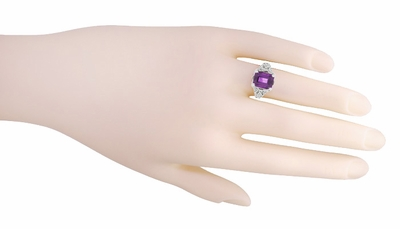 Edwardian Filigree Emerald Cut Amethyst Engagement Ring in Platinum - Item R618PAM - Image 4