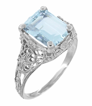 Edwardian Filigree Emerald Cut Blue Topaz Ring in Sterling Silver - Item SSR618BT - Image 1