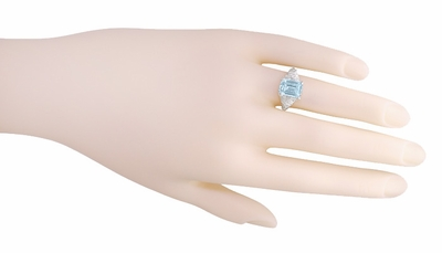 Edwardian Filigree Emerald Cut Blue Topaz Ring in Sterling Silver - Item SSR618BT - Image 4