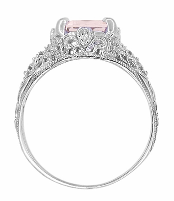 Edwardian Filigree Emerald Cut Morganite Engagement Ring in 14 Karat White Gold - Item R618M - Image 3