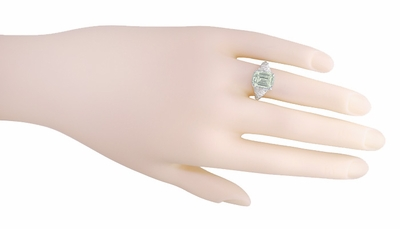 Edwardian Filigree Emerald Cut Prasiolite ( Green Amethyst ) Ring in Sterling Silver - Item SSR618GA - Image 4