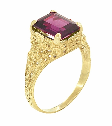 Edwardian Filigree Emerald Cut Rhodolite Garnet Engagement Ring in 14 Karat Yellow Gold - Item R618YG - Image 1