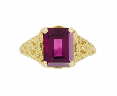 Edwardian Filigree Emerald Cut Rhodolite Garnet Engagement Ring in 14 Karat Yellow Gold - Item R618YG - Image 3