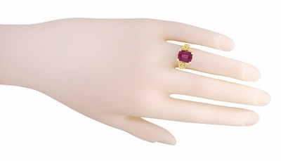 Edwardian Filigree Emerald Cut Rhodolite Garnet Engagement Ring in 14 Karat Yellow Gold - Item R618YG - Image 4