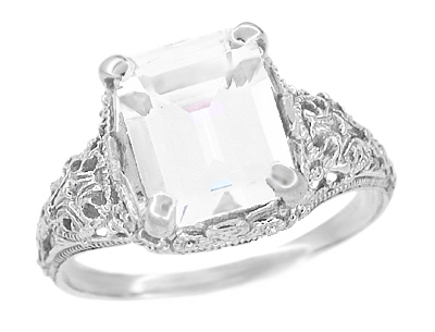 Edwardian Filigree Emerald Cut White Topaz Ring in Sterling Silver
