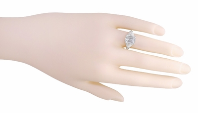 Edwardian Filigree Emerald Cut White Topaz Ring in Sterling Silver - Item SSR618WT - Image 4
