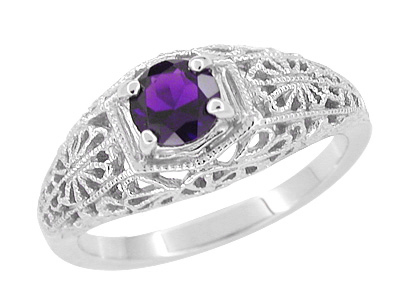 Edwardian Floral Filigree Amethyst Dome Engagement Ring in 14 Karat White Gold