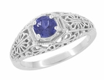 Edwardian Dome Filigree Iolite Promise Ring in Sterling Silver