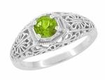 Edwardian Flowers Filigree Peridot Promise Ring in Sterling Silver