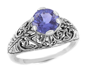 Edwardian Filigree Iolite Ring in Sterling Silver