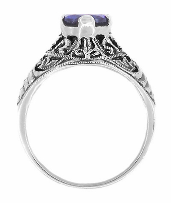 Edwardian Filigree Iolite Ring in Sterling Silver - Item SSR1io - Image 1