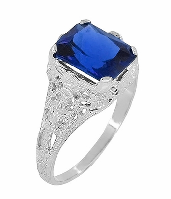 Edwardian Filigree Lab Created Blue Sapphire Statement Ring in Sterling Silver | Radiant Cut - Item SSR618S - Image 1