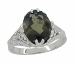Edwardian Filigree Leaves Oval Green Tourmaline Ring in 14 Karat White Gold