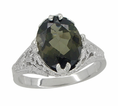 Edwardian Filigree Leaves Oval Green Tourmaline Ring in 14 Karat White Gold - Item R843GT - Image 2