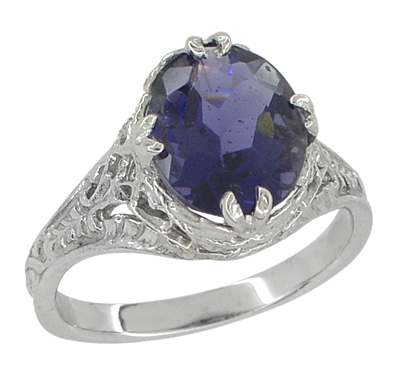 Edwardian Filigree Leaves Oval Iolite Ring in 14 Karat White Gold