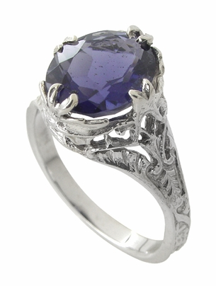Edwardian Filigree Leaves Oval Iolite Ring in 14 Karat White Gold - Item R843i - Image 1