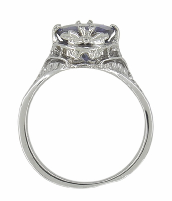 Edwardian Filigree Leaves Oval Iolite Ring in 14 Karat White Gold - Item R843i - Image 3