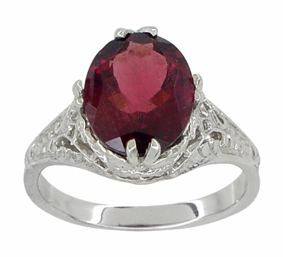 Edwardian Filigree Leaves Oval Rubellite Tourmaline Ring in 14 Karat White Gold - Item R843RT - Image 1