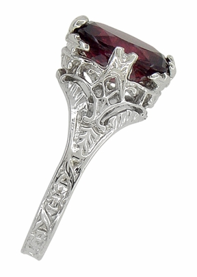Edwardian Filigree Leaves Oval Rubellite Tourmaline Ring in 14 Karat White Gold - Item R843RT - Image 2