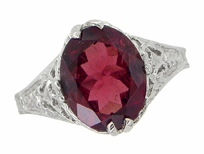 Edwardian Filigree Leaves Oval Rubellite Tourmaline Ring in 14 Karat White Gold - Item R843RT - Image 4