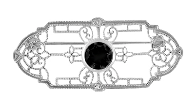 Edwardian Filigree Onyx Brooch in 14 Karat White Gold