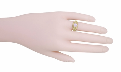 Edwardian Filigree Opal Ring in 14 Karat Yellow Gold - Item R137Yo - Image 4