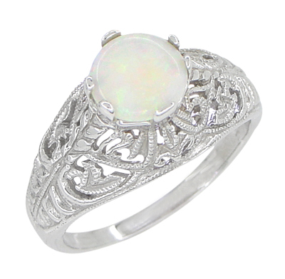 Edwardian Filigree Opal Promise Ring in Sterling Silver