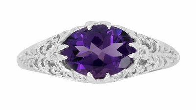 Edwardian Filigree Oval Amethyst Promise Ring in Sterling Silver - Item R1125A - Image 3