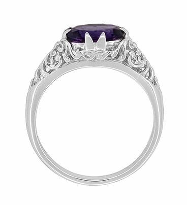 Edwardian Filigree Oval Amethyst Promise Ring in Sterling Silver - Item R1125A - Image 4
