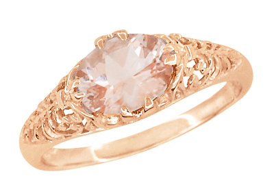 Edwardian Filigree East West Oval Morganite Engagement Ring in 14 Karat Rose Gold ( Pink Gold )