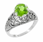 Edwardian Filigree Peridot Promise Ring in Sterling Silver