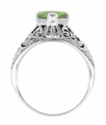 Edwardian Filigree 1.20 Carat Peridot Promise Ring in Sterling Silver - Item SSR7 - Image 1