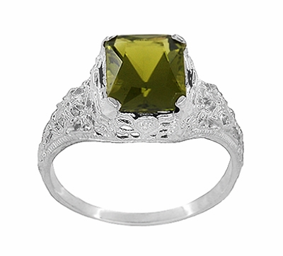 Edwardian Filigree Radiant Cut Olive Green Peridot Ring in Sterling Silver - Item SSR618PER - Image 2