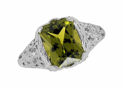 Edwardian Filigree Radiant Cut Olive Green Peridot Ring in Sterling Silver - Item SSR618PER - Image 3