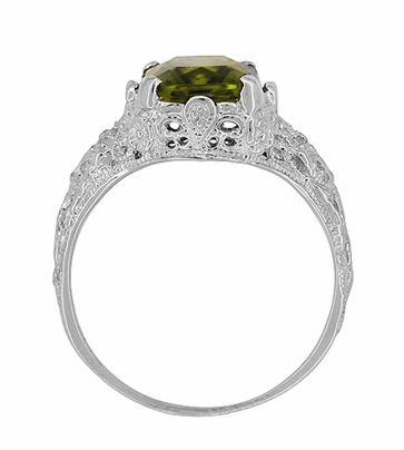 Edwardian Filigree Radiant Cut Olive Green Peridot Ring in Sterling Silver - Item SSR618PER - Image 4