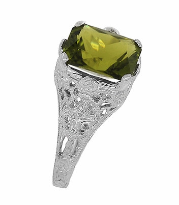 Edwardian Filigree Radiant Cut Olive Green Peridot Ring in Sterling Silver - Item SSR618PER - Image 5