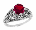 Edwardian Filigree Ruby Promise Ring in Sterling Silver