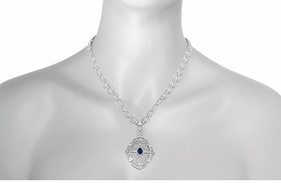 Edwardian Filigree Sapphire and Diamond Drop Pendant Necklace in Sterling Silver - Item N152S - Image 3