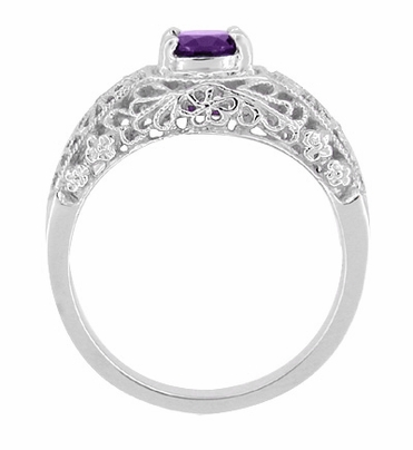 Edwardian Floral Filigree Amethyst Dome Engagement Ring in 14 Karat White Gold - Item RV709A - Image 1