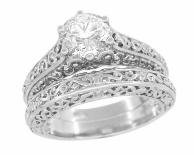 Edwardian Flowing Scrolls Diamond Filigree Heirloom Engagement Ring in 14 Karat White Gold - Item R1196W75D - Image 4