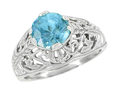 Edwardian Natural Blue Zircon Filigree Ring in 14 Karat White Gold - December Birthstone