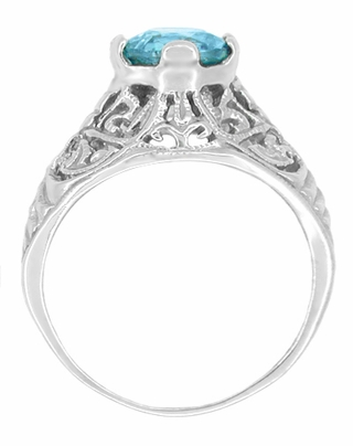 Edwardian Natural Blue Zircon Filigree Ring in 14 Karat White Gold - December Birthstone - Item R397 - Image 1